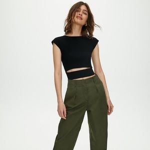 NWOT Aritzia Wilfred Yacine Cut Out Ribbed Top